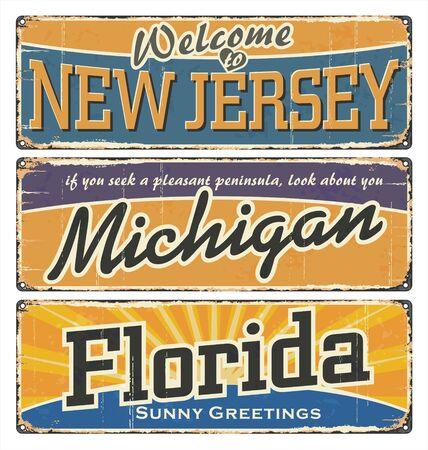 Vintage tin sign collection with USA state. New Jersey. Michigan. Florida. Retro souvenirs or old paper postcard templates on rust background. New Jersey, Michigan, Florida retro posters on tin.