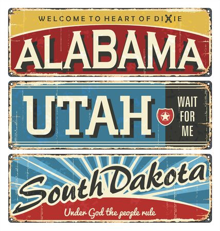 Vintage tin sign collection with America state. Alabama. Utah. Dakota. South. North. Retro souvenirs or postcard templates on rust background.