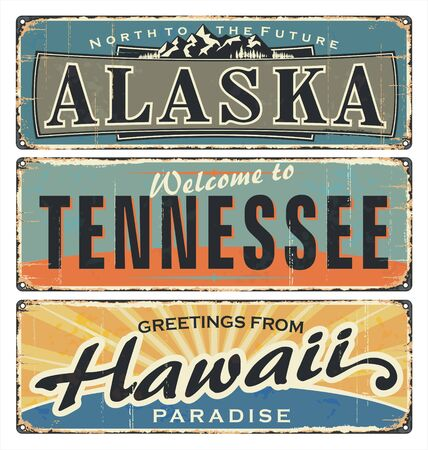 Vintage tin sign collection with US. All States. Alaska. Tennessee. Hawaii. Retro souvenirs or old paper postcard templates on rust background. States of america. Фото со стока - 133428444