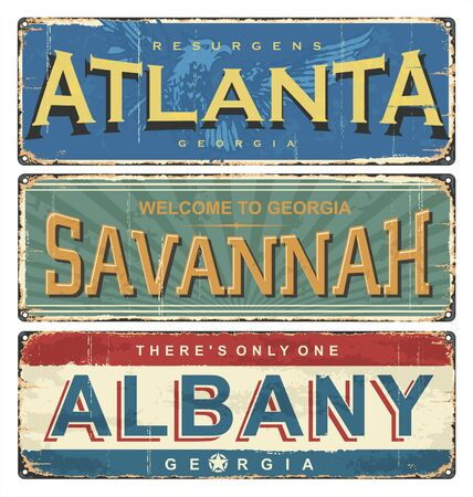Vintage tin sign collection with US cities. Atlanta. Savannah. Albany. Retro souvenirs or old postcard templates on rust background. Ilustrace