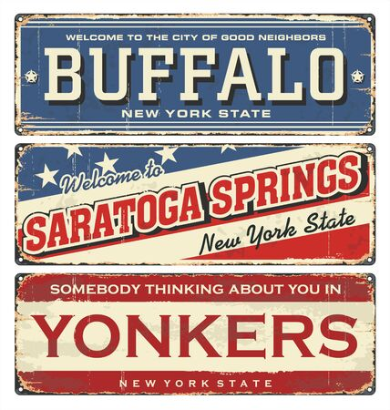 Vintage city label. Vintage tin sign collection with US cities. Buffalo. Saratoga Springs. Yonkers. New York. Retro souvenirs or postcard templates on rust background in New York state.
