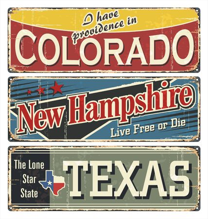 Vintage tin sign collection with America state. Colorado. New Hampshire. Texas. Retro souvenirs on rust background. American flag. Patriot. Rodeo. Tradition. Grunge effects can be removed. US.