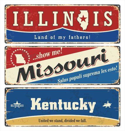 Vintage tin sign collection with USA. Illinois. Missouri. Kentucky. Retro souvenirs or postcard templates on rust background.