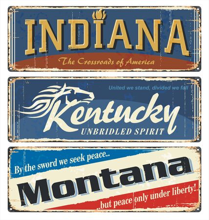 Vintage tin sign collection with US. Indiana. Kentucky. Montana. All States. Retro souvenirs or old paper postcard templates on rust background. States of America.
