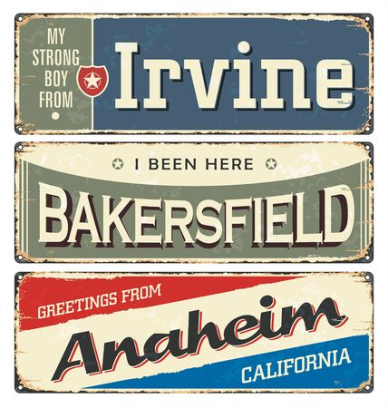Vintage tin sign collection with US cities. South. Irvine. Chicago. Retro souvenirs or postcard templates on rust background. Dixie.