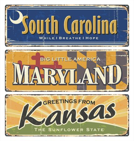 US.Vintage tin sign collection with America state. All States. Retro souvenirs or old paper postcard templates on rust background. States of America. South Carolina. Maryland. Kansas. Ilustrace