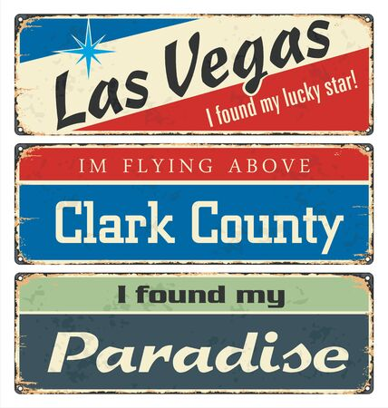 Vintage tin sign collection with US cities. Retro souvenirs or postcard templates on rust background.