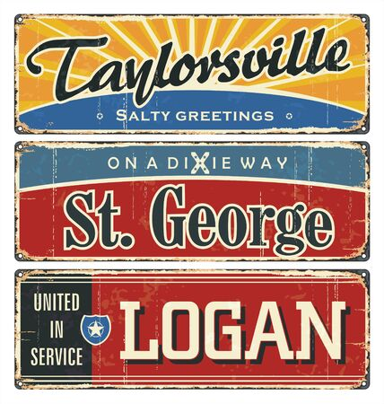 Vintage tin sign collection with US cities. Taylor. St. George. Logan. Retro souvenirs or postcard templates on rust background.