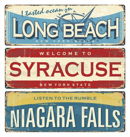 Vintage city label. Vintage tin sign collection with US cities. Long Beach. Syracuse. Niagara Falls. Retro souvenirs or postcard templates on rust background.