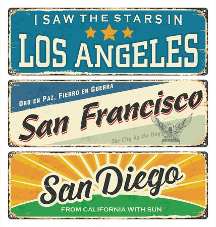 Vintage tin sign collection with US cities. Los Angeles. San Francisco. San Diego. Retro souvenirs or postcard templates on vintage background. Vintage. Tin. Rust. America.