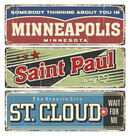 Vintage tin sign collection with USA cities. Minneapolis. Saint Paul. St. Cloud. Retro souvenirs or postcard templates on vintage background. Minnesota city.