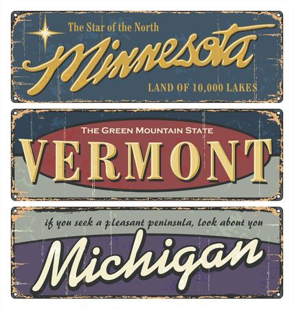 Vintage tin sign collection with USA. Michigan. Vermont. Minnesota. Retro souvenirs or postcard templates on rust background. Vintage old paper. Road sign state. Ilustrace