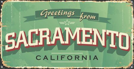 Sacramento city vintage poster vector. Vintage tin sign with US city. Sacramento. Retro souvenirs or postcard templates on rust background.
