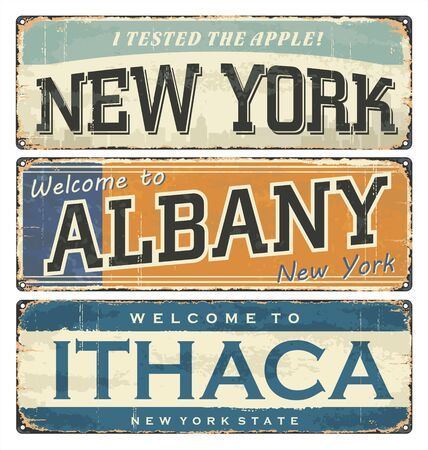 Vintage tin sign collection with US cities. New York. Albany. Ithaca. Retro souvenirs or old postcard templates on rust background. NYC t shirt.