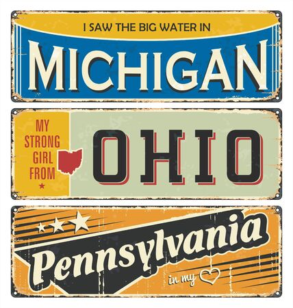 Vintage tin sign collection with America state Michigan. Ohio. Pennsylvania. Retro souvenirs or postcard templates on rust background