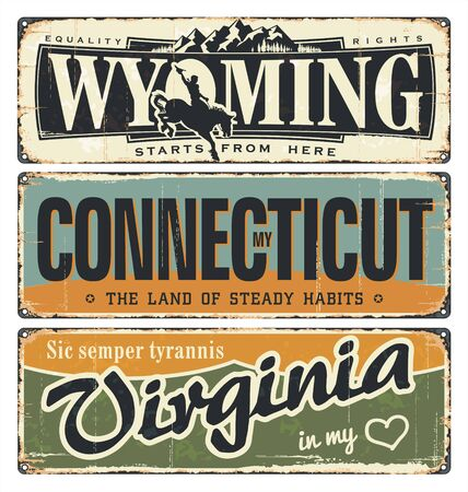 Vintage tin sign collection, with America state. Wyoming. Connecticut. Virginia. Retro souvenirs on rust background. American flag. Patriot. Rodeo. Tradition. Grunge effects can be removed. USA.