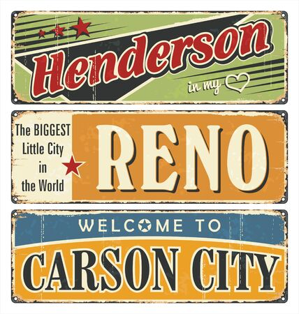 Vintage tin sign collection, with USA cities. Henderson. Reno. Carson City. Retro souvenirs or postcard templates on rust background. 向量圖像
