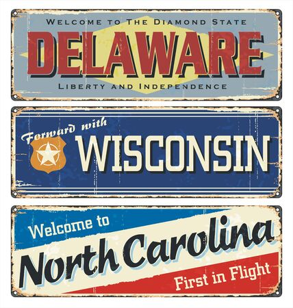Vintage tin sign collection, with America state. All States. Retro souvenirs or old paper postcard templates on rust background. States of America. Delaware. Wisconsin. North Carolina. US.