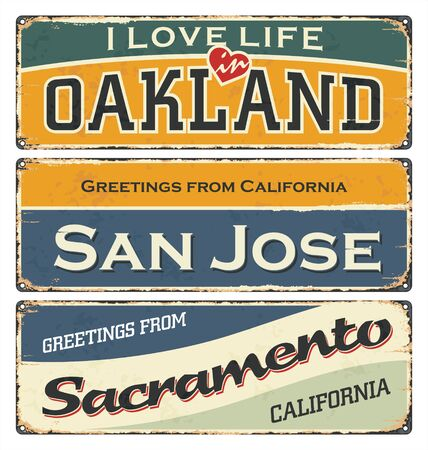 Vintage tin sign collection, with USA cities. Oakland. San Jose. Sacramento. Retro souvenirs or postcard templates on rust background. 向量圖像