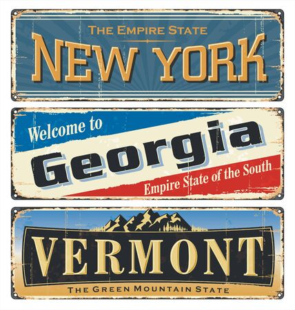 USA.Vintage tin sign collection, with America state. All States. Retro souvenirs or old paper postcard templates on rust background. States of America. New York. Georgia. Vermont. 向量圖像