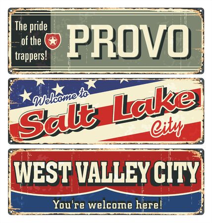 Vintage tin sign collection, with USA cities. Salt Lake. Provo. West Valley City.Retro souvenirs or postcard templates on rust background.