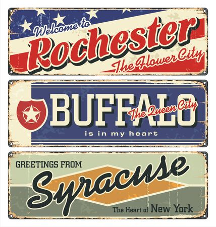 New York tin enamel sign. Vintage city label. Vintage tin sign collection with US cities. Rochester. Buffalo.Syracuse. Retro souvenirs or postcard templates, rust background from New York state. 向量圖像