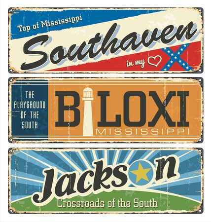 Vintage enamel tin sign collection, with US Mississippi city. Road mark. Jackson. Retro design souvenirs postcard templates rust background. South flag. Stars. Lighthouse. 일러스트