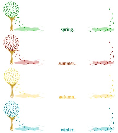 Four seasonal banners with tree and copyspace for your text Vector
