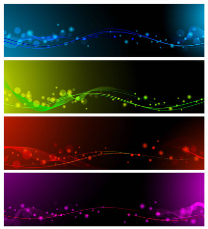magic abstract lines neon multicolored web banner set Vector