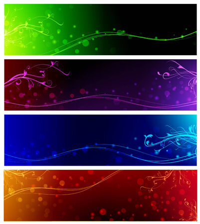 magic floral neon multicolored web banner set Vector