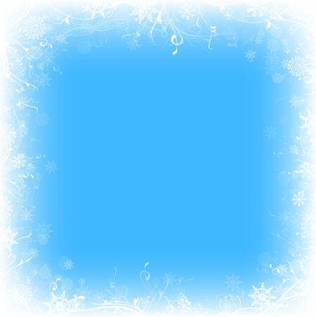 winter frozen window with snowflakes, copyspace Vector