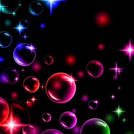 shiny multicolored bubbles with stars Vector