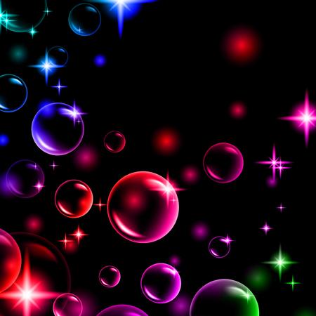 shiny multicolored bubbles with stars Vector