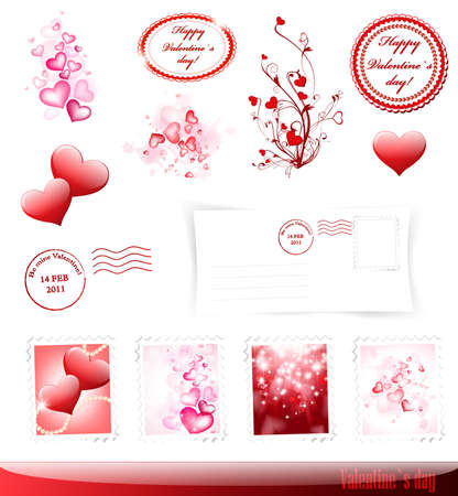 Valentine`s day collection with some decorative elements Vector