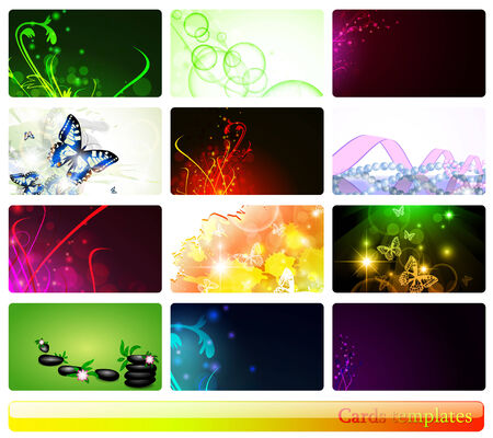 variety of 12 horizontal abstract business cards templates  Illustration