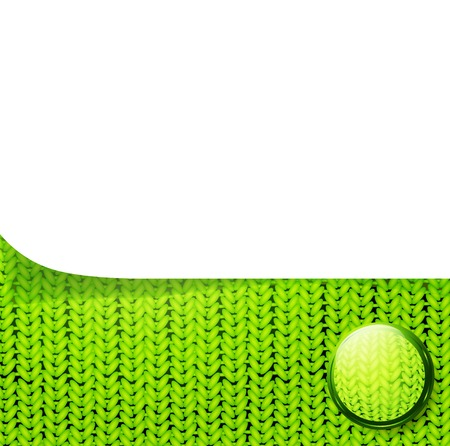 woolen: template over knitted pattern with ball, copyspace