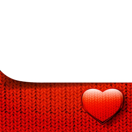 template over knitted pattern with heart, copyspace Vector