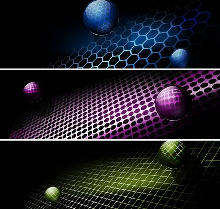 set of banners with tech or industrial abstract background   Vector
