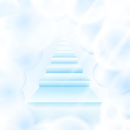 heavenly light: illustration of stairs in cloudy sky  Illustration