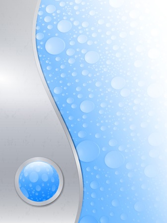 water drops wet background in metal frame with glossy button