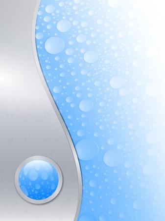 reflectie water: water drops natte achtergrond van metalen frame met glanzende knop Stock Illustratie