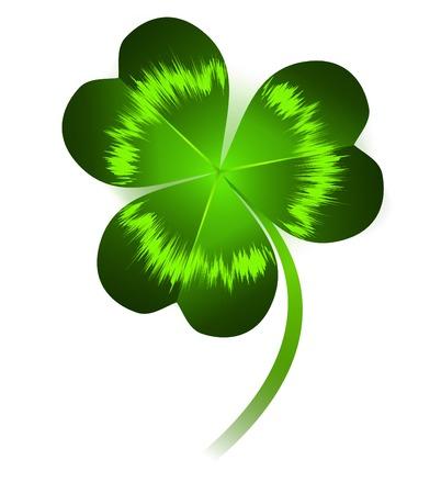 stpatrick: single clover leaf over white background Illustration