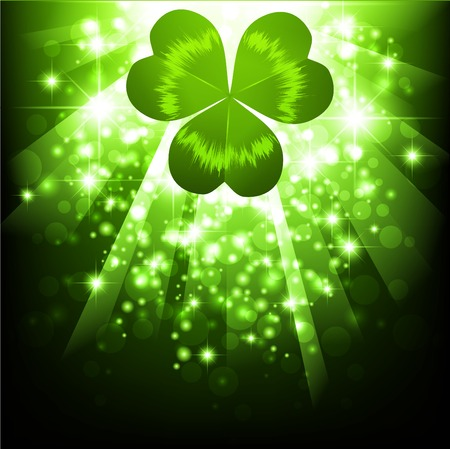 St.Patrick holiday bright magic background with clover Stock Vector - 8928594