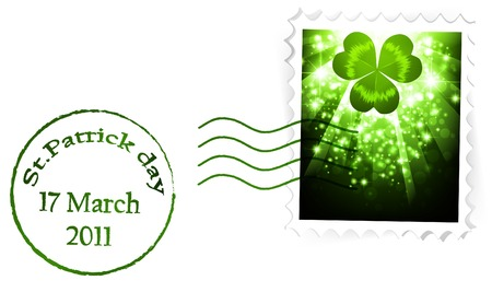 stpatrick: St.Patrick holiday postal stamp over white