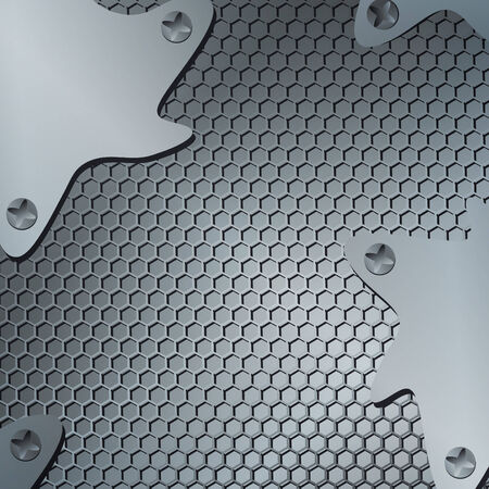 tech or industrial abstract grid background with metal shapes  Vector