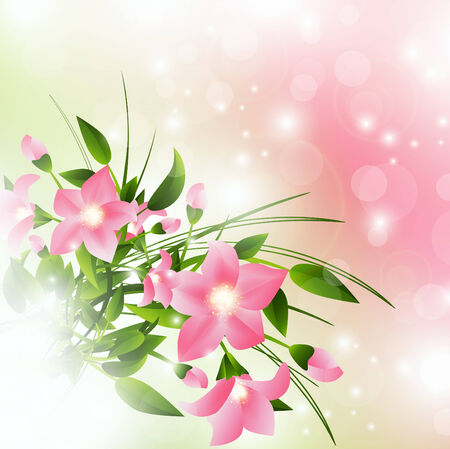pink flowers over pink background with lights Vector