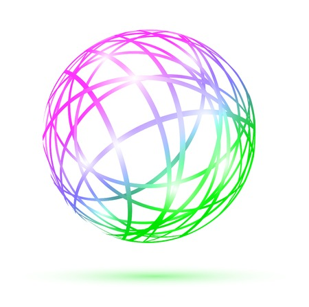 multicolored abstract ball over white background