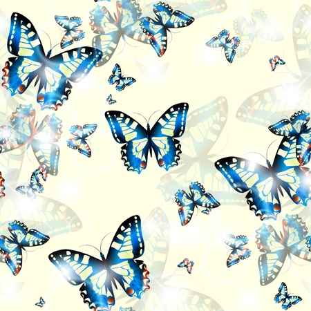 Bright seamless blue butterfly background