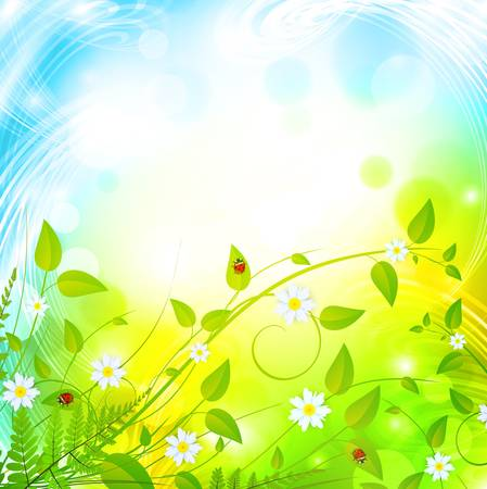 green foliage with flowers over bright background  Vector