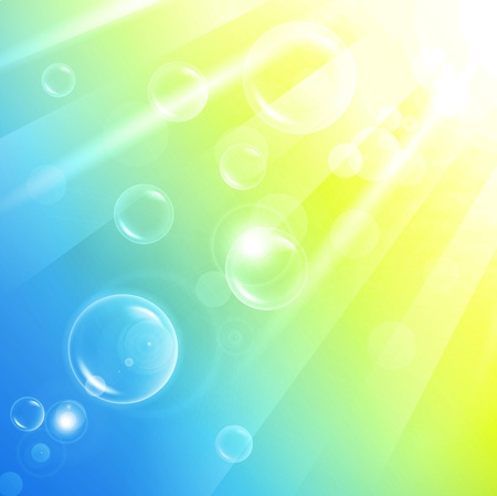 aery abstract background of warm sun rays and bubbles Illustration